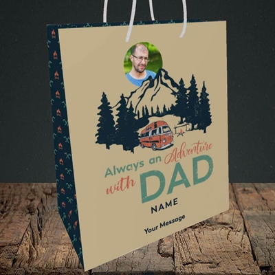 Picture of Camper Van With Dad, Father's Day Design, Medium Portrait Gift Bag