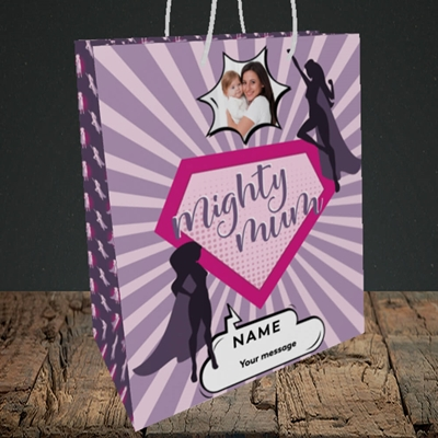 Picture of Mighty Mum, Mother's Day Design, Medium Portrait Gift Bag