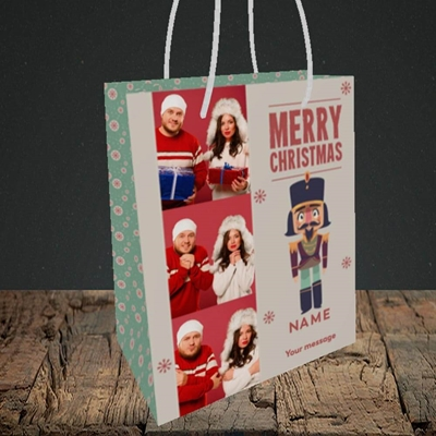 Picture of Merry Nutcracker, Christmas Design, Small Portrait Gift Bag