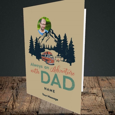 Picture of Camper Van With Dad, Father's Day Design, Portrait Greetings Card