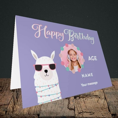 Picture of Cool Lama, Birthday Design, Landscape Greetings Card