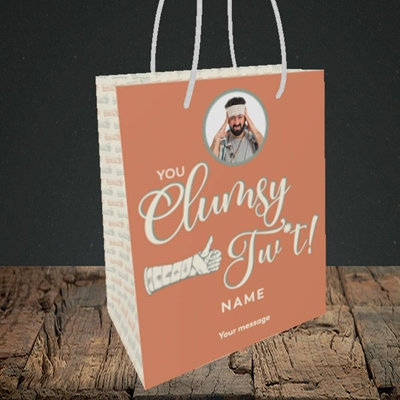 Picture of Clumsy Tw*t, Get Well Soon Design, Small Portrait Gift Bag