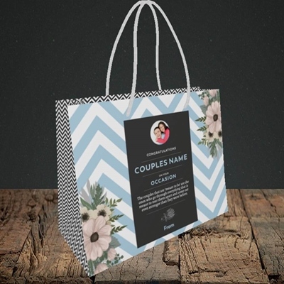 Picture of Zigzag Blue, Anniversary Design, Small Landscape Gift Bag
