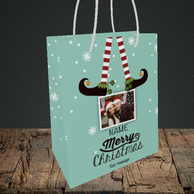 Picture of Elf, Christmas Design, Small Portrait Gift Bag
