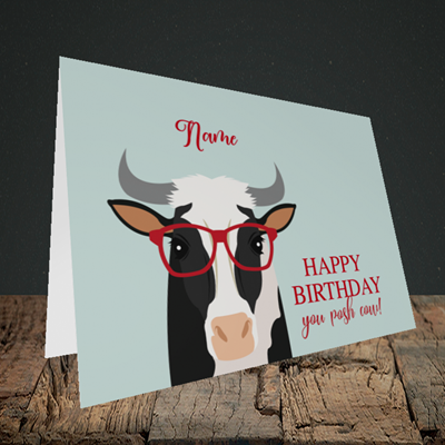 Picture of Cow, (Without Photo) Birthday Design, Landscape Greetings Card