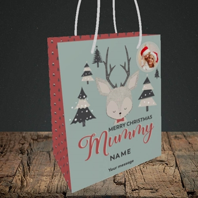 Picture of Mummy Deer, Christmas Design, Small Portrait Gift Bag