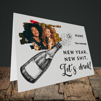 Picture of Let's Drink, New Year Design, Landscape Greetings Card