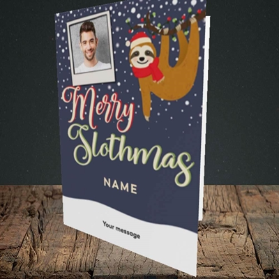 Picture of Merry Slothmas, Christmas Design, Portrait Greetings Card