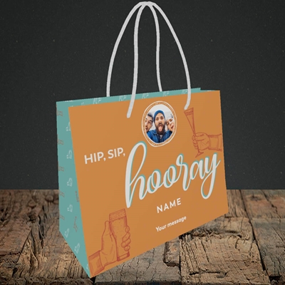 Picture of Hip, Sip, Hooray, Celebration Design, Small Landscape Gift Bag