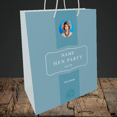Picture of Elegance of Rose - Blue, Wedding Design, Medium Portrait Gift Bag