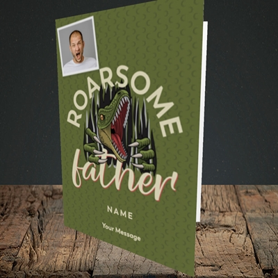 Picture of Roarsome Father, Father's Day Design, Portrait Greetings Card
