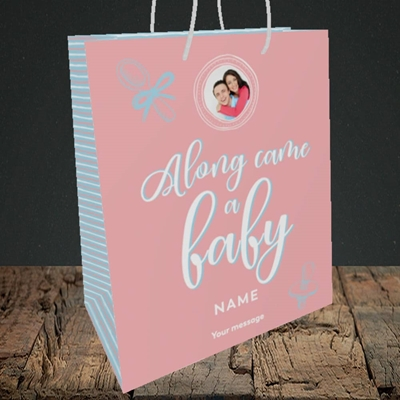 Picture of Along Came A Girl, New Baby Design, Medium Portrait Gift Bag