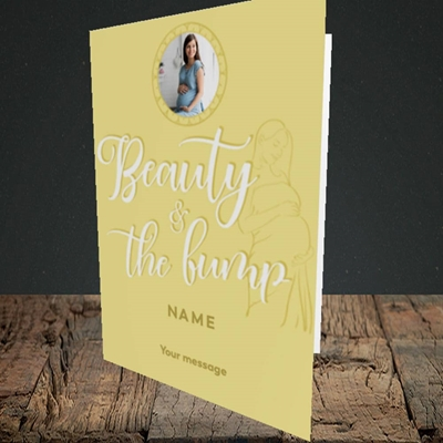 Picture of Beauty & The Bump, Pregnancy Design, Portrait Greetings Card