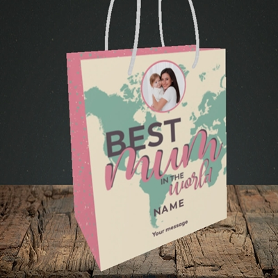 Picture of Best Mum In The World, Mother's Day Design, Small Portrait Gift Bag