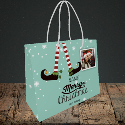 Picture of Elf, Christmas Design, Small Landscape Gift Bag