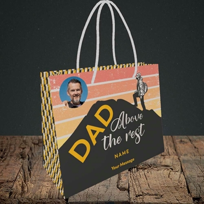 Picture of Dad Above The Rest, Father's Day Design, Small Landscape Gift Bag