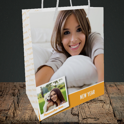 Picture of Photo, New Year Design, Medium Portrait Gift Bag