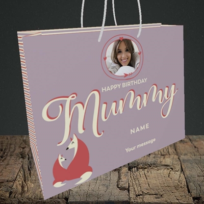 Picture of Foxes Mummy, Birthday Design, Medium Landscape Gift Bag