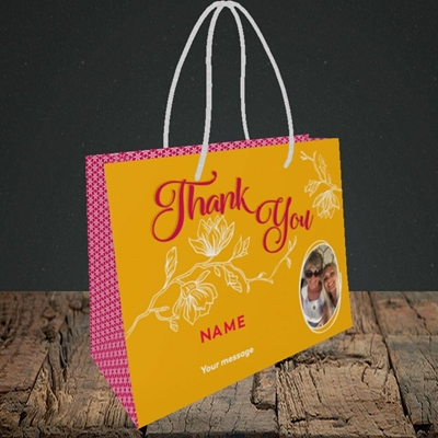 Picture of Flowers, Thank You Design, Small Landscape Gift Bag