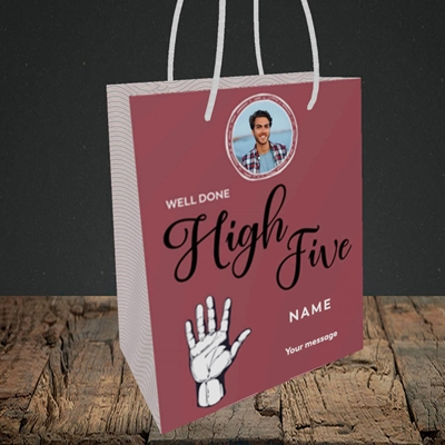 Picture of Well Done High Five, Celebration Design, Small Portrait Gift Bag