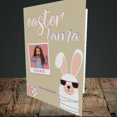 Picture of Easter Lama, Easter Design, Portrait Greetings Card