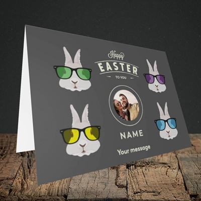 Picture of Hipster Bunnies, Easter Design, Landscape Greetings Card