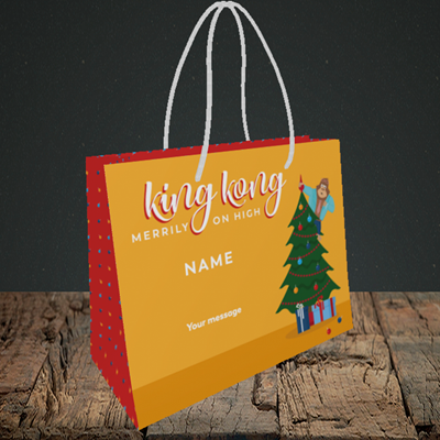 Picture of King Kong, (Without Photo) Christmas Design, Small Landscape Gift Bag