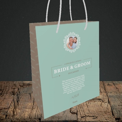 Picture of Traditional Foliage Teal B&G, Wedding Design, Small Portrait Gift Bag