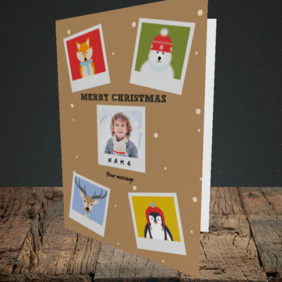 Picture of Animal Polaroid, Christmas Design, Portrait Greetings Card