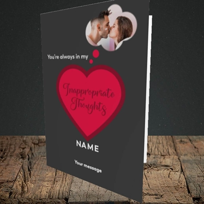 Picture of Inappropriate Thoughts, Valentine's Design, Portrait Greetings Card