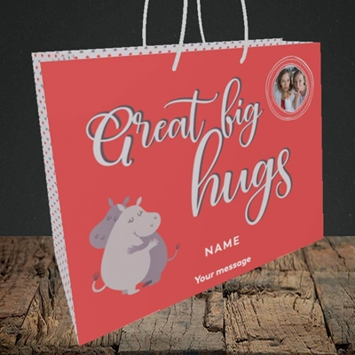 Picture of Big Hugs, Thinking of You Design, Medium Landscape Gift Bag