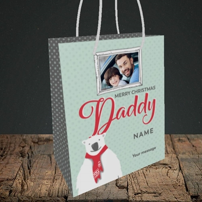 Picture of Daddy Polar Bear, Christmas Design, Small Portrait Gift Bag