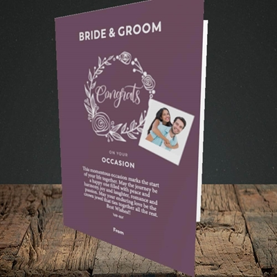 Picture of Wreath Purple B&G, Wedding Design, Portrait Greetings Card