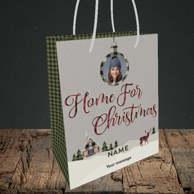 Picture of Home For Christmas, Christmas Design, Small Portrait Gift Bag