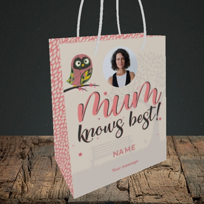 Picture of Mum Knows Best, Mother's Day Design, Small Portrait Gift Bag