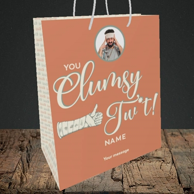 Picture of Clumsy Tw*t, Get Well Soon Design, Medium Portrait Gift Bag
