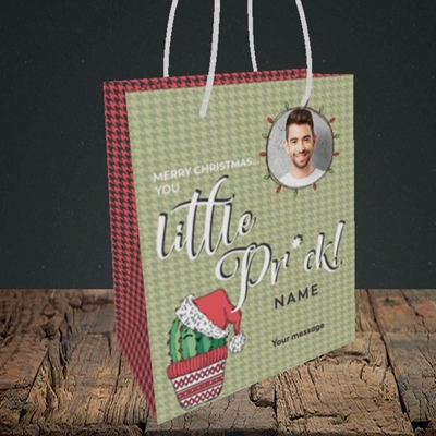 Picture of Christmas Pr*ck, Christmas Design, Small Portrait Gift Bag