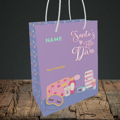 Picture of Little Diva, (Without Photo) Christmas Design, Small Portrait Gift Bag