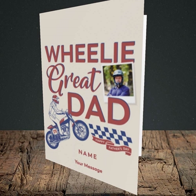 Picture of Wheelie Great Dad, Father's Day Design, Portrait Greetings Card