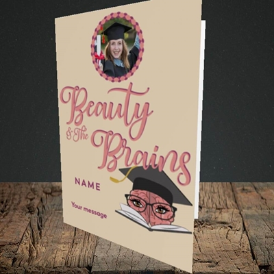 Picture of Beauty & The Brain, Graduation Design, Portrait Greetings Card