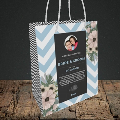 Picture of Zigzag Blue B&G, Wedding Design, Small Portrait Gift Bag