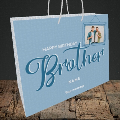 Picture of Brother, Birthday Design, Medium Landscape Gift Bag