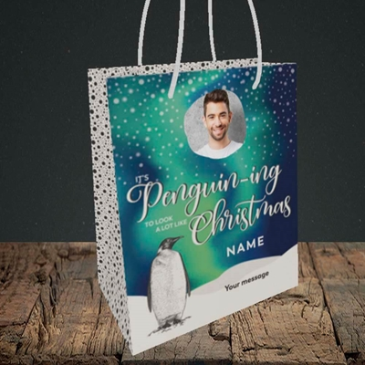 Picture of It's Penguin-ing, Christmas Design, Small Portrait Gift Bag