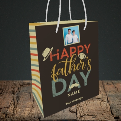 Picture of Retro, Father's Day Design, Small Portrait Gift Bag