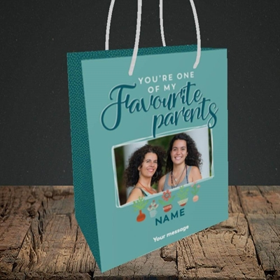 Picture of Favourite Parents, Mother's Day Design, Small Portrait Gift Bag