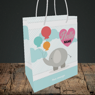 Picture of Elephant, New Baby Design, Small portrait Gift Bag