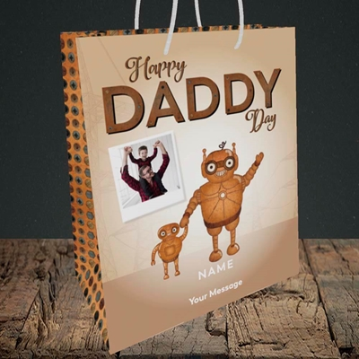 Picture of Daddy Robot, Father's Day Design, Medium Portrait Gift Bag