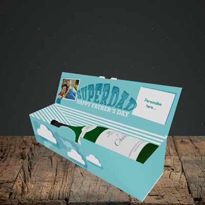 Picture of Superdad, Father's Day Design, Lay-down Bottle Box