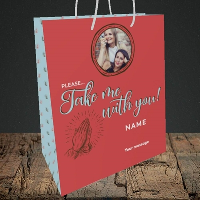 Picture of Take Me With You, Leaving Design, Medium Portrait Gift Bag