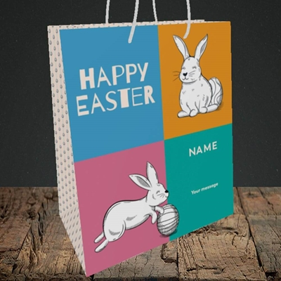 Picture of 4 Colour Bunnies(Without Photo), Easter Design, Medium Portrait Gift Bag